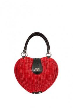 Sac coeur vintage en osier rouge