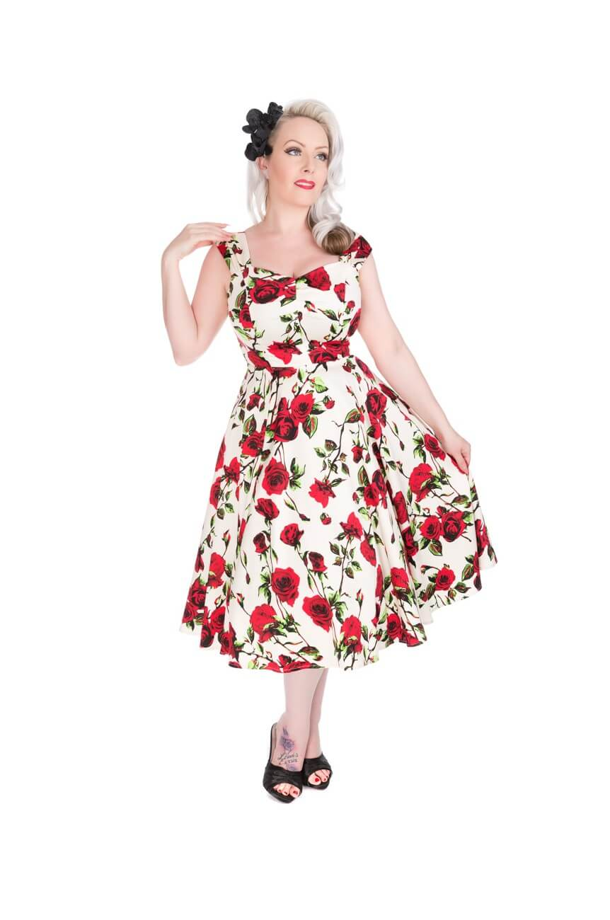 Robe longue pin up ecrue a fleur