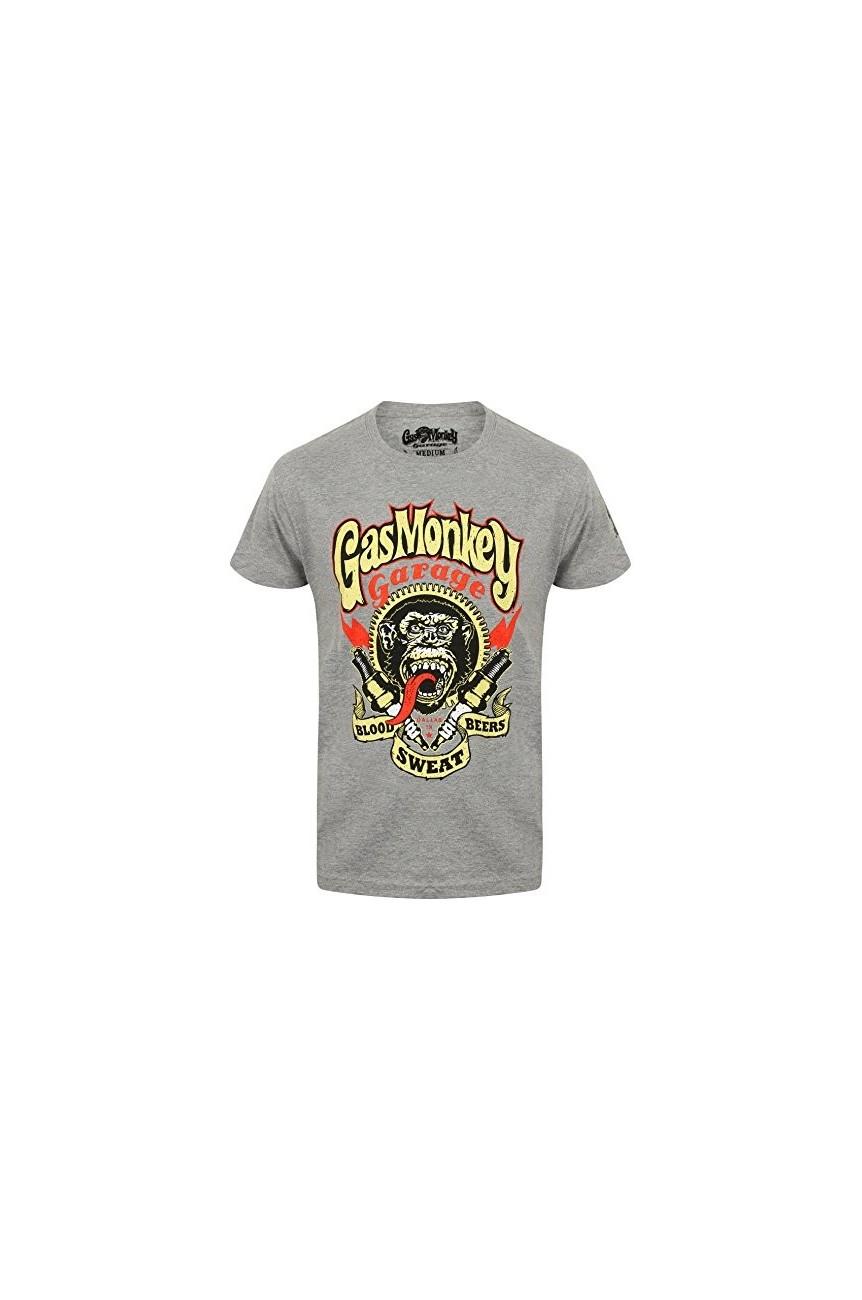 Tee shirt Gas monkey garage spark plug gris