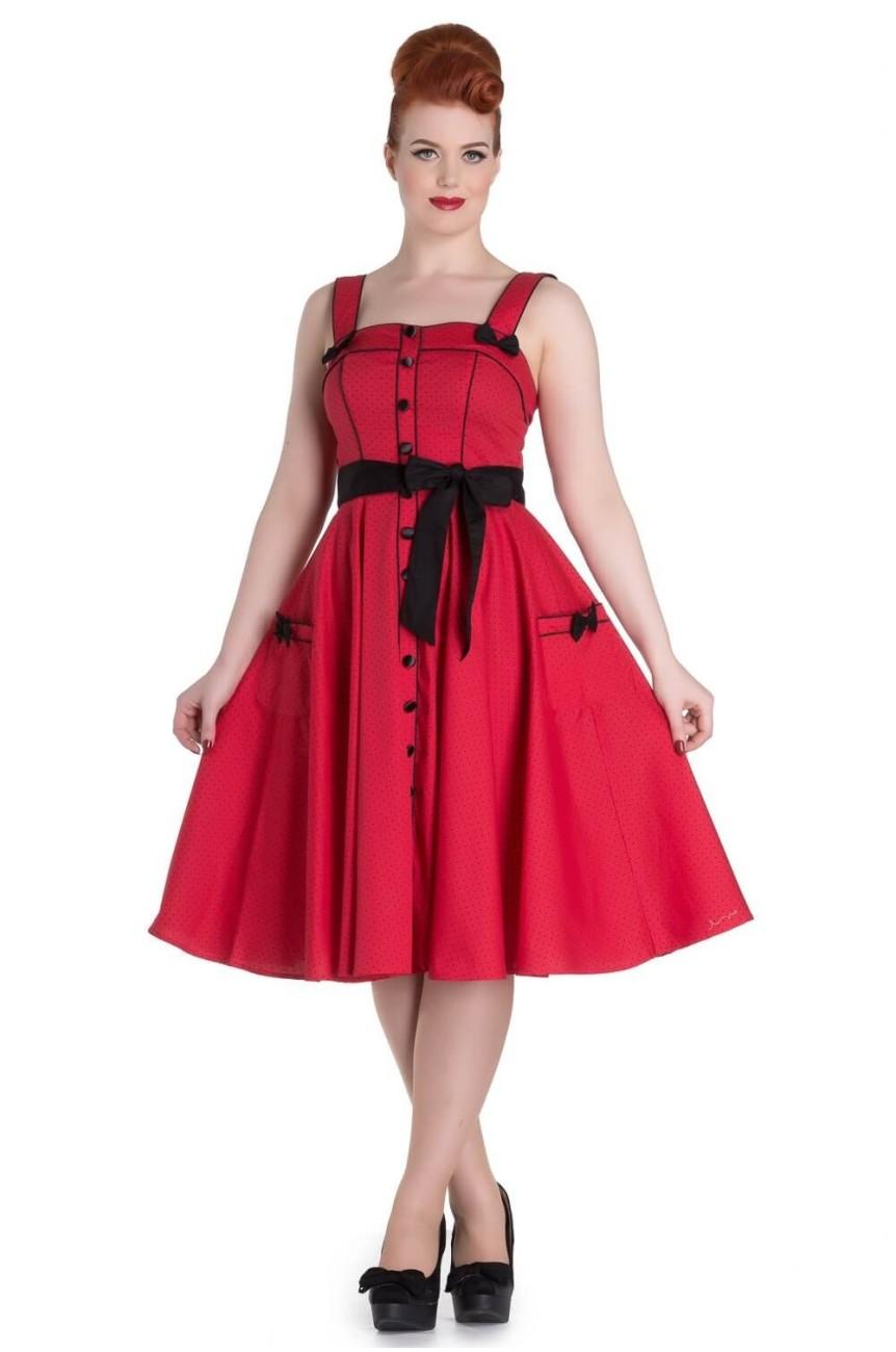 Robe vintage rouge à pois