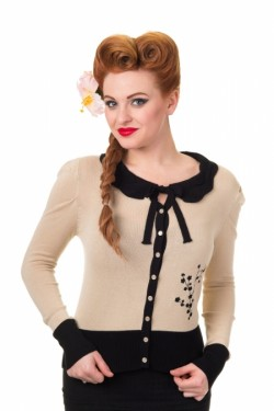 Cardigan pin up beige annee50
