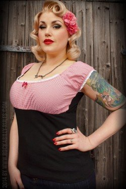 Haut rockabilly vichy rouge rumble59