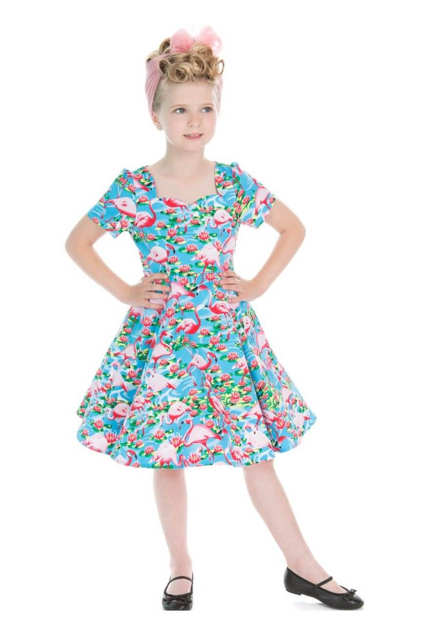 Robe pin up enfant flamant rose