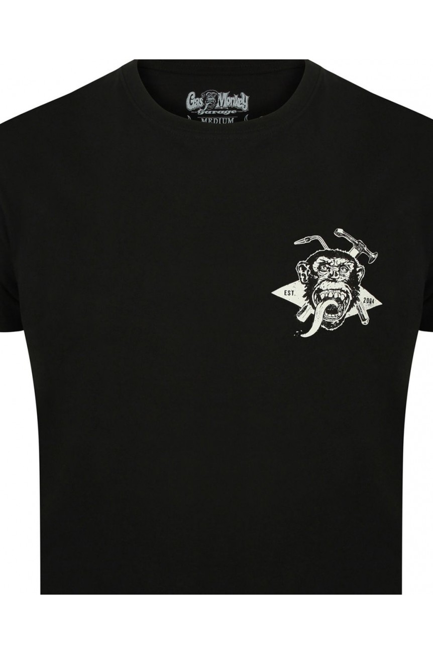 Tee shirt gas monkey Torch & hammer noir