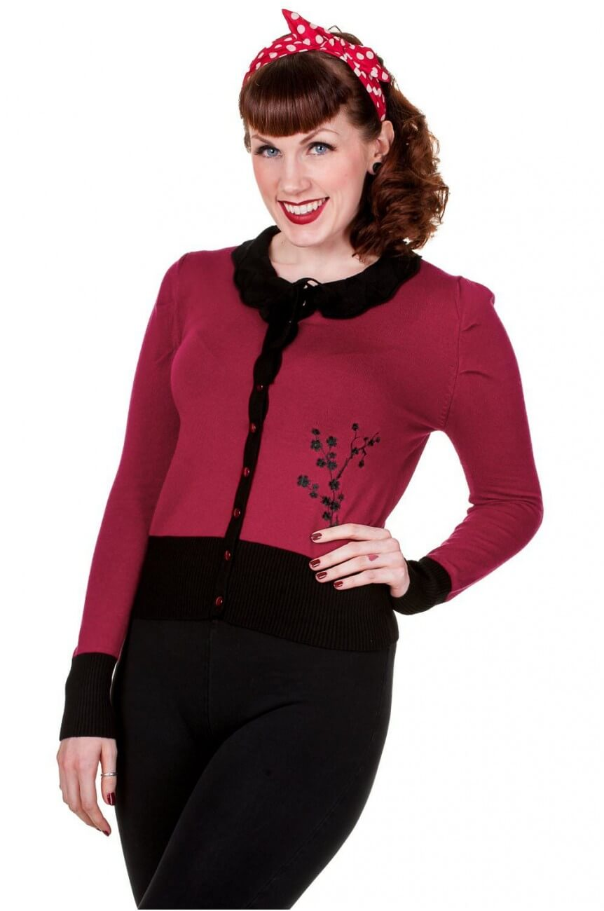 Cardigan pin up bordeaaux