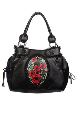 Sac rock avec des roses style tattoo