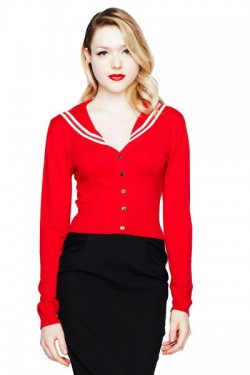 Cardigan pin up style marin rouge