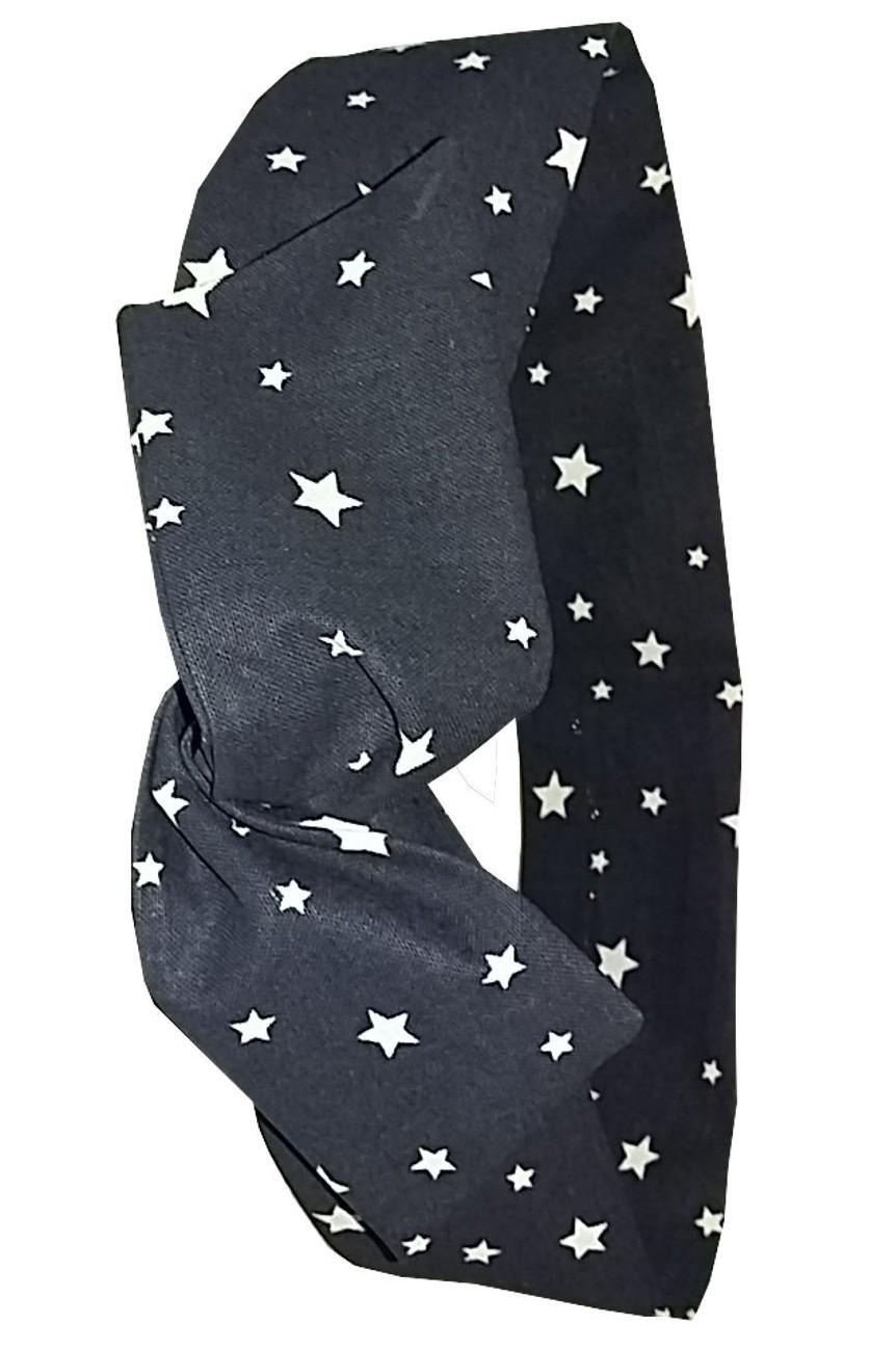 Bandeau pour cheveux noir a étoiles blanches
