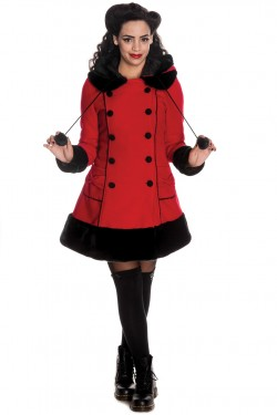 Manteau hell bunny rouge a capuche