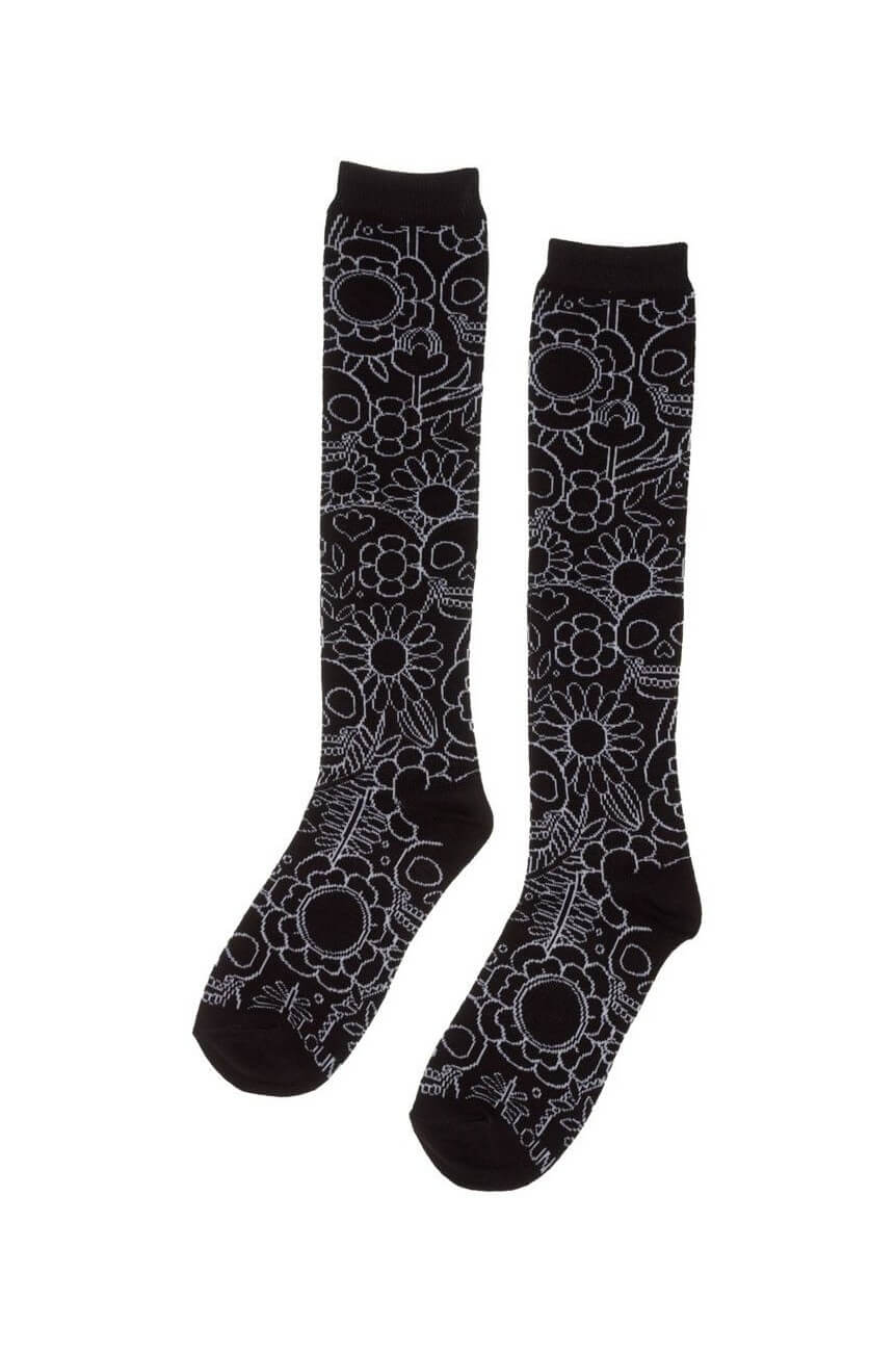 Chaussettes skull ans flowers
